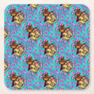 Yorkie Poo Easter Square Paper Coaster