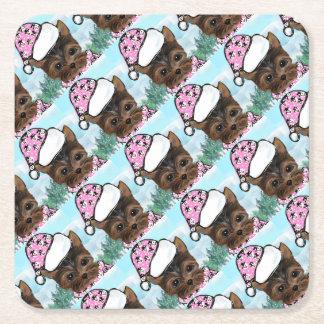 Yorkie Poo Square Paper Coaster