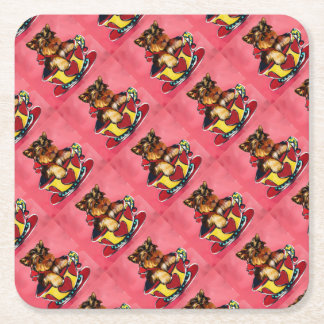 Yorkie Poo Square Paper Coaster