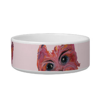 Yorkie Pop Art Painting in Pink and Orange Bowl