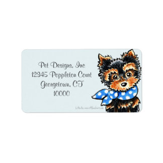 Yorkie Puppy Blue Scarf Fancy Address Label
