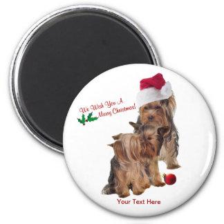 Yorkie Puppy Wonderful Christmas Wishes 6 Cm Round Magnet