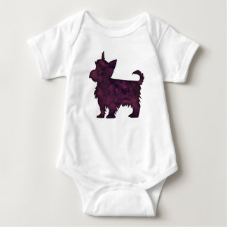 Yorkie Purple Watercolor Silhouette Baby Bodysuit