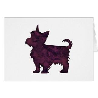 Yorkie Purple Watercolor Silhouette Card