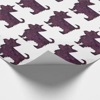 Yorkie Purple Watercolor Silhouette Wrapping Paper