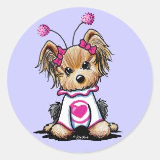 Yorkie Terrier Love Bug Classic Round Sticker