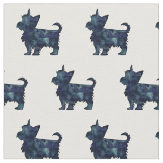 Yorkie Terrier Silhouette Tiled Fabric - Black WC