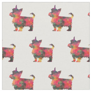Yorkie Terrier Silhouette Tiled Fabric - Multi