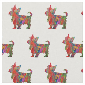 Yorkie Terrier Silhouette Tiled Fabric - Painted