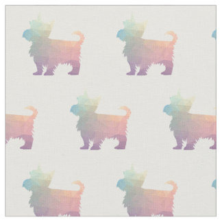 Yorkie Terrier Silhouette Tiled Fabric - Pastel