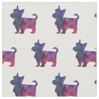 Yorkie Terrier Silhouette Tiled Fabric - Pink