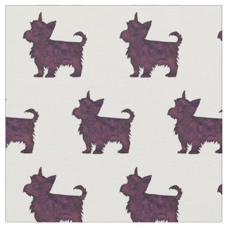 Yorkie Terrier Silhouette Tiled Fabric - Purple WC