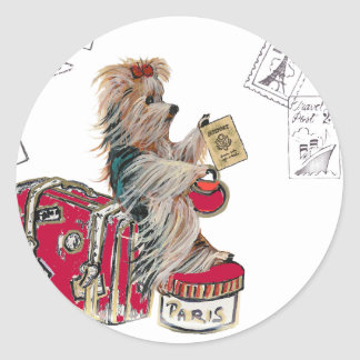 Yorkie Travelling Paris Classic Round Sticker