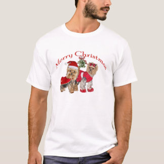 Yorkie two Merry Christmas t-shirt