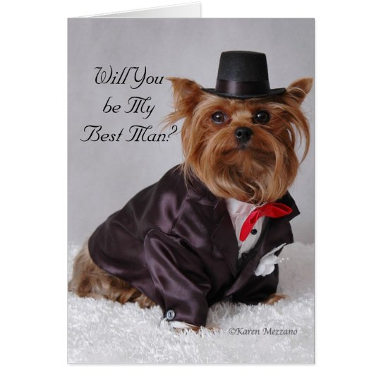 Yorkie , Will You be My Best Man? Card