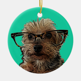 Yorkie with Glasses Ceramic Ornament