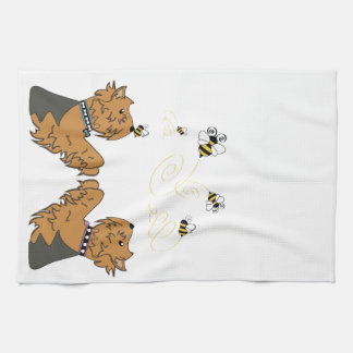 Yorkies and bees tea towel