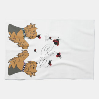 Yorkies and Ladybirds Tea Towel