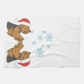 Yorkies and Snowflakes Tea Towel