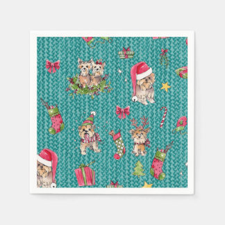 Yorkies at Christmas Paper Napkins