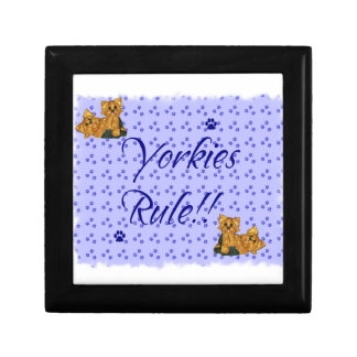 Yorkies Rule Pawprint trinket Jewelry Gift Box bl