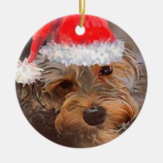 Yorkipoo Christmas Ornament