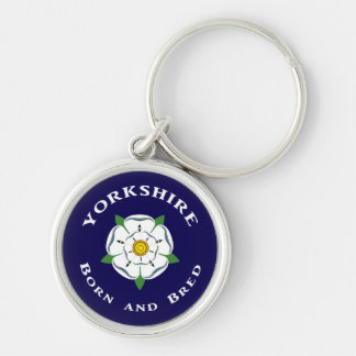 Yorkshire Born and Bred Keyring Silver-Colored Round Key Ring
