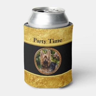 Yorkshire brown and black terrier gold foil design can cooler