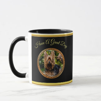 Yorkshire brown and black terrier gold foil design mug