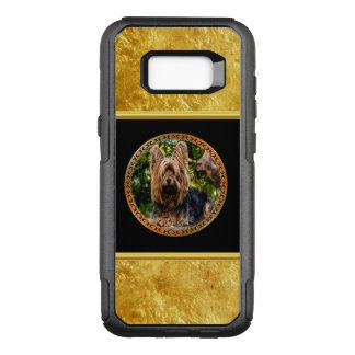Yorkshire brown and black terrier gold foil design OtterBox commuter samsung galaxy s8+ case