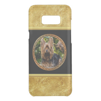 Yorkshire brown and black terrier gold foil design uncommon samsung galaxy s8 plus case