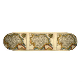 Yorkshire County Map, England Skate Deck