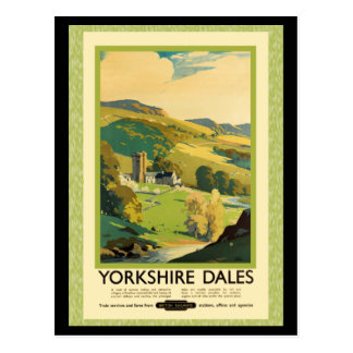 Yorkshire Dales Travel Poster Postcard