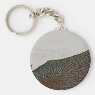 Yorkshire farm building with birds basic round button key ring