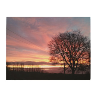 Yorkshire sunset pink autumn sky wood print