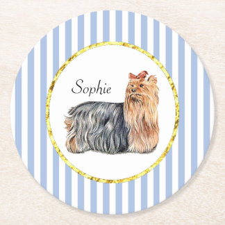 Yorkshire Terrier Blue Stripes Personalize Round Paper Coaster