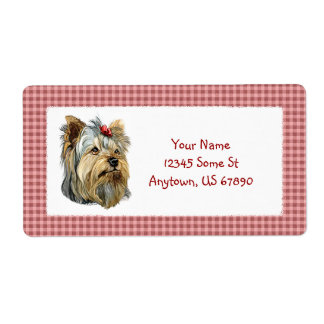 Yorkshire Terrier Bust Red Bow