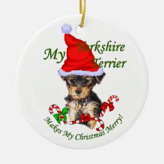 Yorkshire Terrier Christmas Gifts Ceramic Ornament