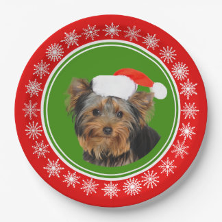 Yorkshire Terrier Cute Santa Hat Christmas Paper Plate