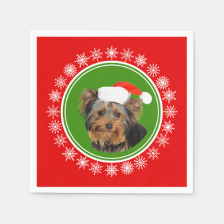 Yorkshire Terrier Cute Santa Hat Christmas Paper Serviettes