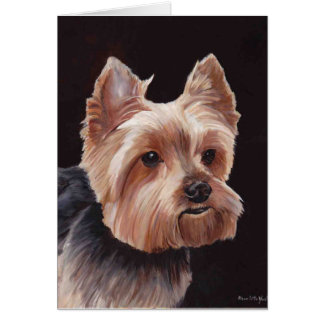 Yorkshire Terrier Dog Art Oil Painting Note Card