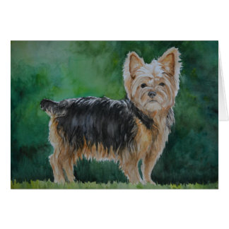 Yorkshire Terrier Dog Art Watercolor Greeting Card