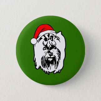 Yorkshire Terrier Dog Christmas Santa Hat 6 Cm Round Badge