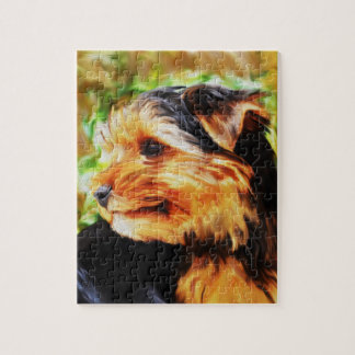Yorkshire Terrier Dog Watercolor Art Portrait Jigsaw Puzzle