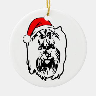 Yorkshire_Terrier_Dog with Christmas Santa Hat Round Ceramic Decoration