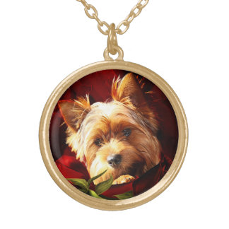 Yorkshire Terrier embedded in Red Roses Gold Plated Necklace
