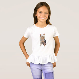 Yorkshire Terrier Girls' Ruffle T-Shirt