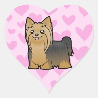 Yorkshire Terrier Love (long hair no bow) Heart Sticker