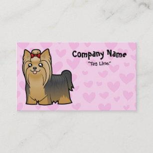 Hair bow business cards zazzle au yorkshire terrier love long hair with bow business card reheart Choice Image