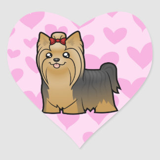 Yorkshire Terrier Love (long hair with bow) Sticker